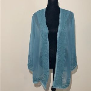 Soft surroundings open embroidered sheer jacket